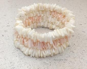 Touch of Blush Bracelet, Heishi Shell