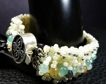 Fabulous Weaved Ivory Glass - Amazonite Beads & Plated Silver Bracelet