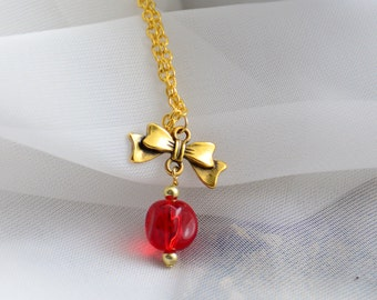 Gold Bow and Red Dangle Necklace