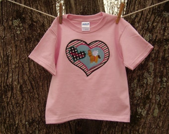 "Appliqued hearts and embroidered ""Unicorn"", pink tee, youth small,Believe Series"