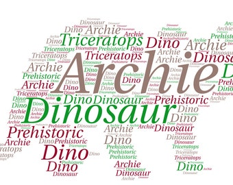 Personalised Dinosaur Triceratops Dino Word  Art picture