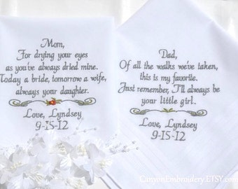 Embroidered Wedding Handkerchiefs Wedding Gifts for Mom & Dad Wedding Gift Personalized Embroidered Handkerchief Wedding Gifts By Canyon