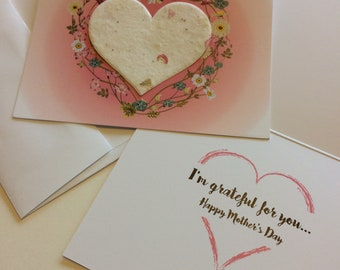 Mother's Day Card - Seed Paper Heart - I'm Grateful for You