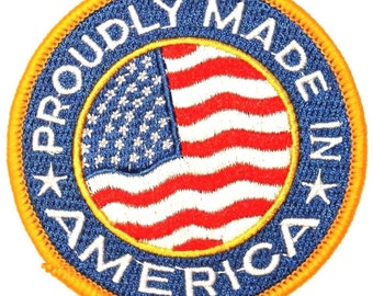 """United States of America """"Proudly Made In America"""" U.S.A. Industry & Manufactoring Iron On Applique Patch"""