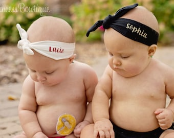 Personalized Baby Head Wraps, Monogrammed Baby Headbands, Headbands with Name School or Team, Birthday Baby Headbands, Glitter Gold