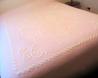 Vintage Chenille and Cotton Bedspread Cutter or Repurpose Pink with White Design