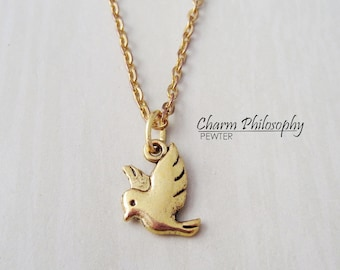 Gold Dove Necklace - Bird Pendant - Antique Gold Toned Jewelry