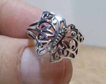 Vintage, .925 Sterling Silver Butterfly Ring.