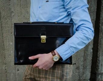 Leather briefcase men, Leather laptop bag, Leather messenger, Black Leather portfolio, Business bag, Graduation Gift - Moonheart