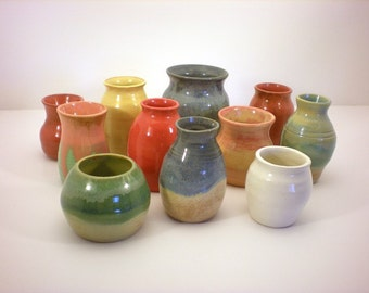 Flower Bud Vases - Hand Thrown Pottery