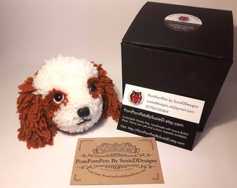 King Charles Cavalier Spaniel Dog Handmade with British Wool Pom Pom Pets by SusieDDesigns Collectable Animal Gifts