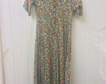 vibrant vintage floral print dress