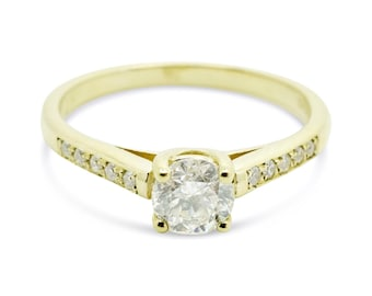 Engagement Diamond Ring 1/2 carat-Solitaire diamond ring-14K Yellow Gold Ring-Women Jewelry-Promise ring-Cluster engagement ring-for her