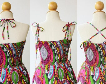 Strapless Halter Camisole Maxi Dress, Printed Cotton Dress, Boho Summer Beach Cover Up Dress