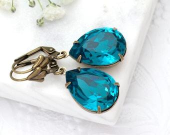 Dark Teal Earrings, Teal Swarovski Crystal Earrings Dangle, Teal Crystal Jewelry Brass, Austrian Crystal Rhinestone Earrings Drop, Franca