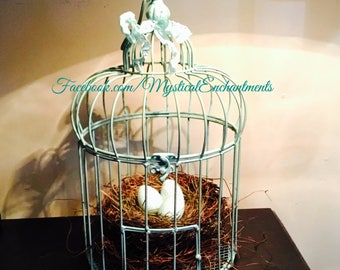 Vintage Aqua Bird cage with Spring Birds nest and Robin's eggs