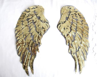 Salsa   Wings Patch,Gold Wings Applique,Sequin Gold Wings,Wings Applique,Gold Wings ,Costume Embellishment,Large  Angel Wings