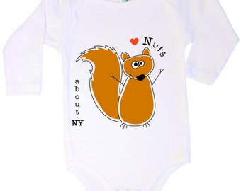 Cotton long sleeve baby one piece with screen printed squirrel design by Bugged Out, made in the USA