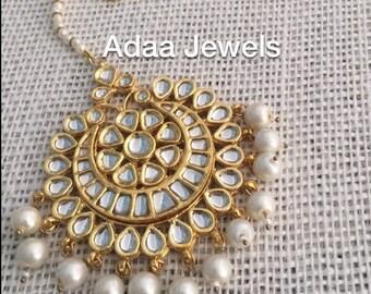 Kundan tika tikka headpiece, head jewellery Indian Jewelry