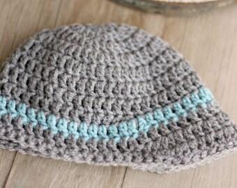 Baby Boy Crochet Hat with brim, dark grey, and blue  0-3