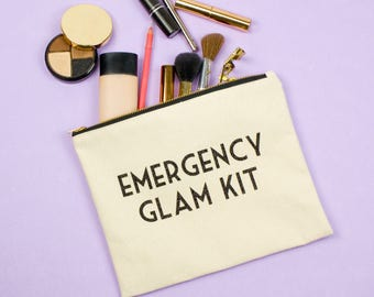 Bride Survival Bag Glam Kit Make Up Bag Bridesmaids Gifts Natural Canvas Zipper Pouch Black Glitter Gold Zipper Toiletry Case