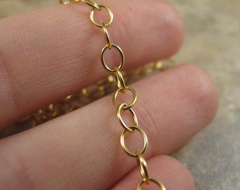 Gold Cable Chain, 14k Gold Filled Smooth Cable Chain, By The Foot, 5mm x 4mm Chain for Charm Necklace and Bracelet, Jewelry Supplies (57af)