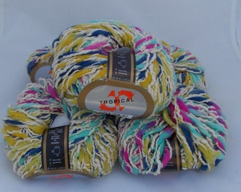 Multicolor yarn, cotton yarn, white yarn, knitting yarn, crochet yarn, yarn lot, cheap yarn, Markoma Tropical, medium yarn, worsted yarn