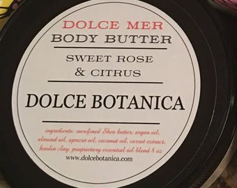 Rose Citrus Body Cream, Rose Citrus Body Butter, Rose Citrus Moisturizer, Spa Gift, Body Butter Gift for Her