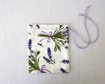 Lavender Fabric Small Gift Bag, Fully lined with a Ivory Satin Drawstring - 5 inches x 6 inches