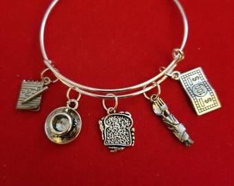 Silver Waitress Themed Charm Bracelet