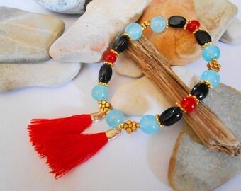 Red Tassel Stretch Bracelet Aqua Blue Agate Black Onyx Gold Flower Boho Sweet 16 Gift Teacher Gift Cheer Encouragement Friendship Bracelet