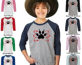 Carl Halloween Costume or Cosplay - Atomic Paw - Zombie - Jersey Three-Quarter Sleeve Baseball T-Shirt - Boys - Youth