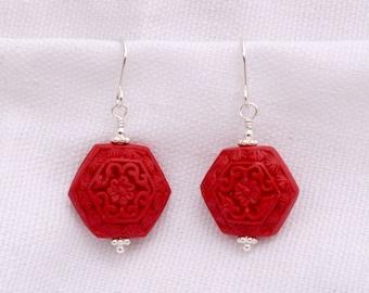Hexagonal Red Cinnabar Earrings