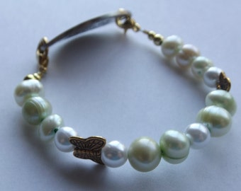 Butterflies and Pearls Medical ID Extension Bracelet, Bracelet or Interchangeable Watch Band