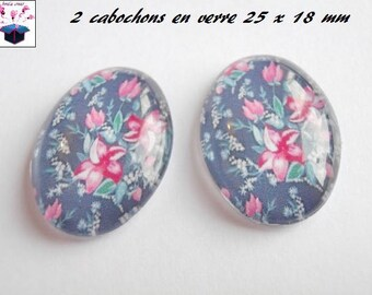 2 cabochons glass 25mm x 18mm flowers theme