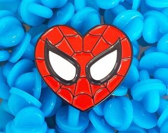 SPIDEY LOVE : Red & Black Spider-Man Heart Enamel Pin