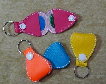 Guitar Pick Holder Holds 2 Picks | Guitar Pick Case | Pick Cary Case | Guitar Key Chain | Guitar Carry Case | You Pick Vinyl Outer Color