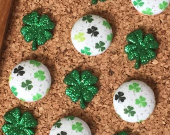 St Patricks Day Pushpins,Saint Patricks Day Thumbtacks,St Pattys Day Push Pins,Saint Pattys Day Thumb Tacks,Shamrock Gift,Irish Gifts,Clover