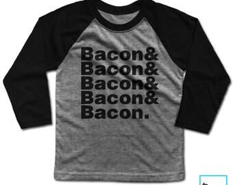 Bacon & Bacon | Bacon Lover | Foodie Shirt | Funny Bacon Shirt | Foodie Gift | Food Lover | Funny Food Shirt | Kids | Kids Baseball Tee
