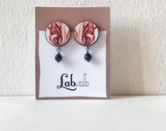 Pow! *Botanica* TULIP - Paper on Wood earrings - stud earrings with beads - flowers