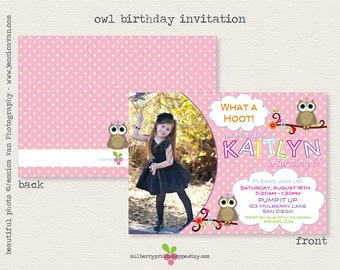 Girly Owl Photo Birthday Invitation- Printable