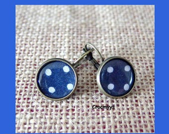 Blue Stud Earrings with polka dots