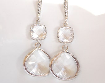 Wedding Jewelry, Silver Clear Earrings, Crystal, Cubic Zirconia, Bridesmaid Jewelry, Bridesmaid Earrings, Bridal Earrings, Dangle,Long, Gift