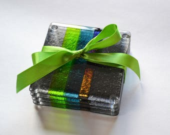 Set of Two Modern Fused Glass Coasters (Grey, Green, Blue, Rainbow)