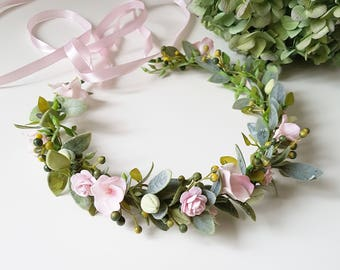 Pink Greenery Bridal Flower crown Maternity pink crown Pink bridal headpiece Bridesmaid crown Boho Floral accessories Woodland headpiece