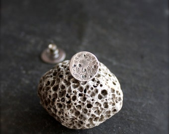 Silver Moon Earrings - Sterling Silver Post, Round Disk, 13mm Circle, Textured Metalwork Jewelry