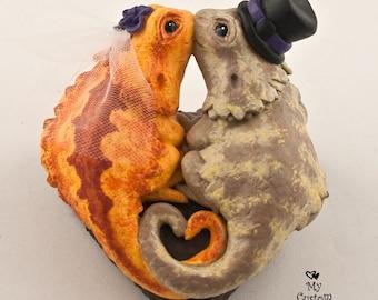 Lizard Wedding Cake Topper - Bearded Dragons