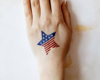 USA Flag Tattoo, Patriotic Tattoos, Temporary Body Stickers, Red Blue Tats, 4th July Summer Gifts for Women, Jewel Flash Tattoos, US Flags
