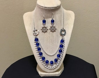 Blue Nautical Necklace and Earrings