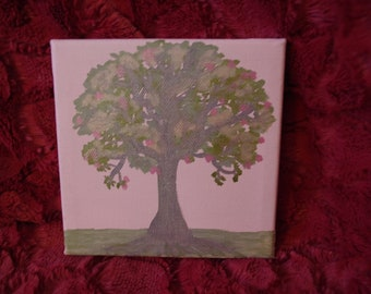 Original  Miniature Painting Apple Tree - Customizable with Heart and Initials